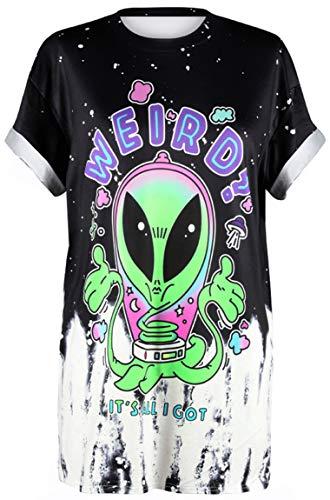 Einfach Kostüm Weird - Ocean Plus Unisex 3D Druck Graffiti Alien T-Shirt Loose Fit Wild Verrückt Wahnsinn Tee Shirt Tops (S/M, 022 Weird)