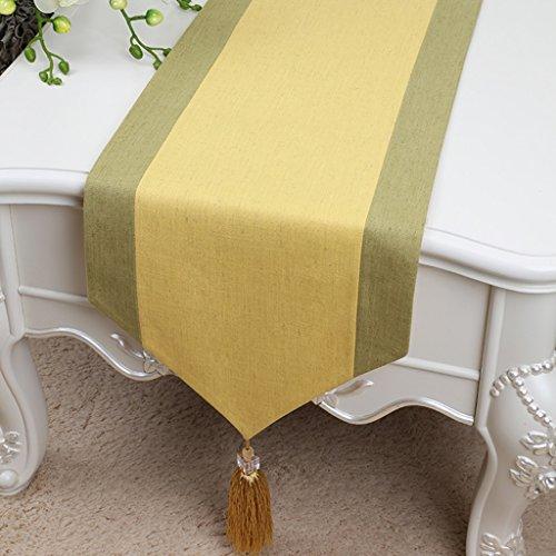 erner minimalistischer, klassischer Retro, Couchtisch, Stoff, Tischfahne, Baumwolltischfahne, (Gelb, Grün) (Farbe : Gelb, größe : 33 * 150cm) ()