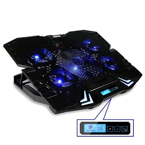 MECO Laptop Kühler, 5 Lüftern, 2 USB Port, 5 Verstellbarer Winkel, Windgeschwindigkeitanzeige ,Geeignet Für Laptop 10-15,6 Zoll und Unter (CP-R2) Kühlkörper