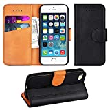 Adicase iPhone 5 Hülle Leder Wallet Tasche Flip Case Handyhülle Schutzhülle für Apple iPhone 5/5S/SE (Schwarz)
