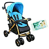 #7: HARRY & HONEY SATIN FINISH BABY STROLLER BLUE WITH WIPES