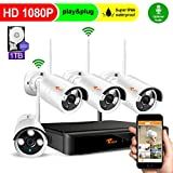 CORSEE Wireless Security Camera System, Wifi Security Camera Kit 8CH 1080P HD Expandable NVR,4x2.0MP Weatherproof Night Vision Security Cameras,1TB Hard Drive(With audio fuction,can add more cameras)