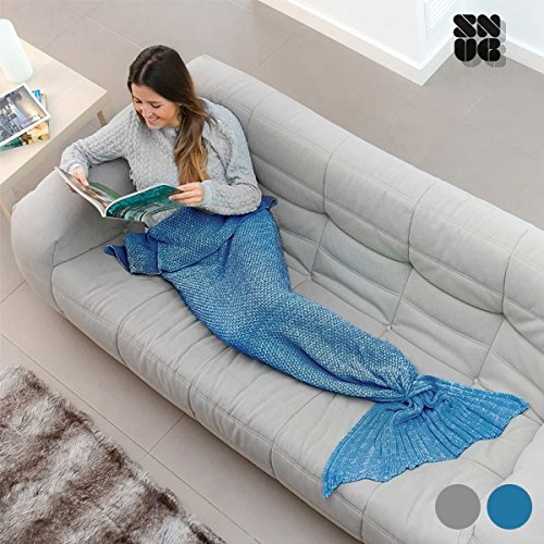 Snug One Mermaid Meerjungfrau Decke, Acryl und Nylon, Grau, 160x 90x 1cm -