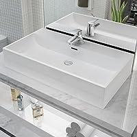 Festnight Lavabo con Orificio para Grifo - Color de Blanco Material de Cerámica, 76x42,5x14,5 cm