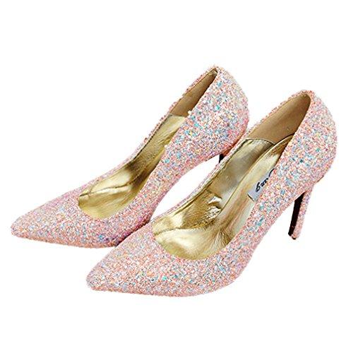Xianshu Damen Pailletten Stiletto Heels flachen Mund Spitz Schuhe Pumps(Champagne-41)