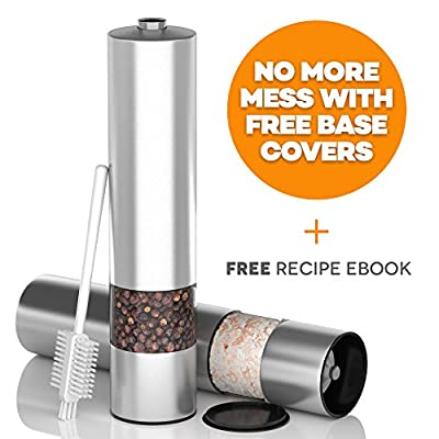 Electric Salt and Pepper Mill Set For Quick And Easy Seasoning - Stainless Steel Electronic Mills With Ceramic Grinders For Adjustable Coarseness - Includes Free Brush and Base Covers To Prevent Mess and Bonus Recipe Book from Akoni Homeware