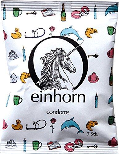 einhorn Kondome - 7 Stück - Wochenration - Design Edition: BILDERRÄTSEL - Vegan, Hormonfrei, Feucht, Geprüft