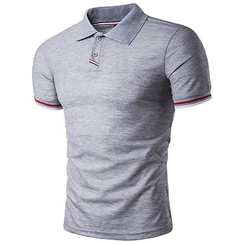 Polo Homme T-Shirt Manches Courtes Casual Sport Golf Gris XL