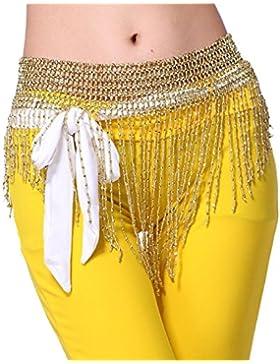 Cuentas Danza Del Vientre cadera Wrap Bufandas Cinturones dorado/plateado