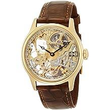 Thomas Earnshaw ES-8049-02 - Reloj para hombre con esfera analógica dorada con volante visto y correa de cuero marrón