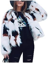 iBaste Corto Abrigo Mujer Invierno de Pelo Sintético Párrafo Color Mezclado Chaquetas de la Rebeca