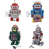 MagiDeal 4 Piezas Juguetes de Cuerda Cerrar Estaño Modelo de Robot para Niños