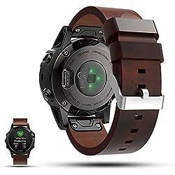 Garmin Fenix 5 GPS correa de reloj de repuesto Smartwatch - iFeeker accesorio 22mm de ancho correa de reloj de pulsera de cuero plano genuino para Garmin Fenix 5 GPS reloj deportivo multideporte