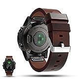 Garmin Fenix 5 GPS Smartwatch Ersatzarmband - iFeeker Accessoire 22mm Breite Echtes flaches Leder Sport Uhr Bügel Armba