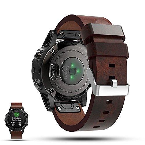 Garmin Fenix 5 GPS Smartwatch Ersatzarmband - iFeeker Accessoire 22mm Breite Echtes flaches Leder Sport Uhr Bügel Armband Gurt Riemen für Garmin Fenix 5 GPS Multisport Smartwatch - Leder Bügel Riemen