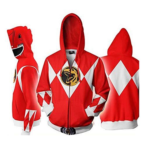 TOOSD Men es Hoodies, Classic Power Rangers 3D Digital Print Zipper Hooded Outdoor Casual Jacket-M-XXXL,Red,XXL