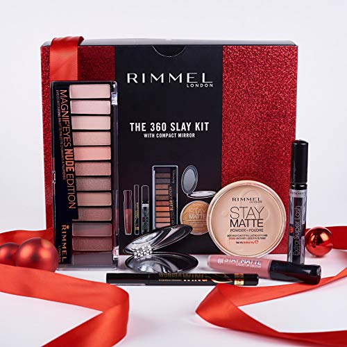 Rimmel The 360 Slay Kit Gift Set (includes Stay Matte Powder, Stay Matte Liquid Lipstick, Wonder Wing Eyeliner, Extra Super Lash Mascara,  Magnif'eyes 12 Pan Eyeshadow Palette)