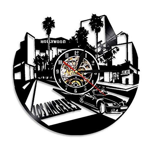 Mddjj 1 Stück Hollywood Movie Center Vinyl Uhr Wohnkultur Los Angeles Wandkunst Led-Licht Wanduhr Moderne Film Fan Handgemachtes Geschenk Wohnzimmer Dekoration (Led-licht-uhr-fan)