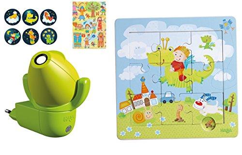 Haba Geschenkeset Steckdosenlicht Drachen 301993 und Puzzle Drachenritter 301471, Geschenk, Holzpuzzle, Nachtlicht, Jungen