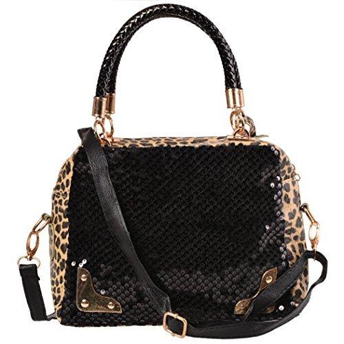 Ardisle Designer Damen Damen Leder Style Tote Schwarz Leopard Umhängetasche Handtasche (Tote Tassel Medium)