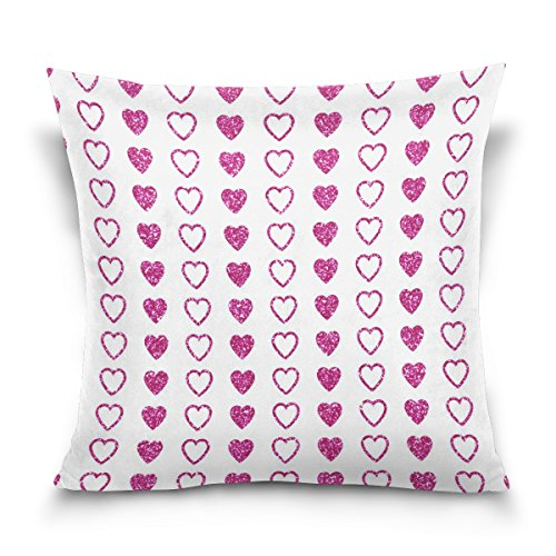 WellLee Soft Cotton Velvet Decorative Pillowcase,Purple Heart Polka Dots,Funny Square Throw Pillow Cushion Cover,Two Side Pillow Case for Sofa,Living Room 20x20 in