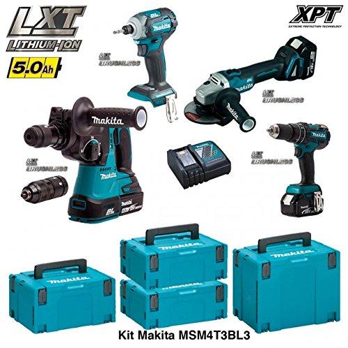 "Preisvergleich Produktbild MAKITA Kit MSM4T3BL3 18V (DHR243 + DTD148 + DGA504 + DHP480 + 3 x 5,0 Ah + DC18RC + 2 x MAKPAC 2 + MAKPAC 3 + MAKPAC 4) ""Brushless"""