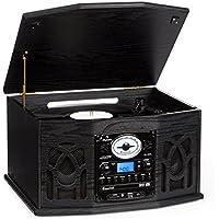 auna NR-620 • Retroanlage • Plattenspieler • Stereoanlage • Riemenantrieb • max. 45 U/Min • UKW Radio Tuner • Stereolautsprecher • USB/SD-Eingang • Kassettendeck • Digitalisierung • schwarz