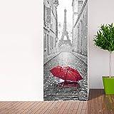 Sticker Porte effet 3D - autocollant Trompe L'œil pour Porte - Décoration pour Porte Cuisine, Salon, Chambre, Salle de Bain - Style Papier peint pour les murs - Parapluie dans Paris - 204 x 83 cm