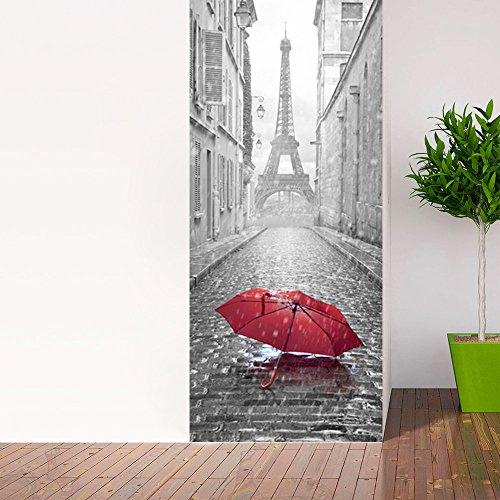 Adhesivo para puerta con efecto 3D, diseño de atrapasueños de ojos para puerta, cocina, salón, dormitorio, cuarto de baño, estilo de papel pintado para paredes - Paraguas en París - 204 x 83 cm