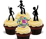 70er Jahre Disco Party Silhouetten, essbaren Kuchen Dekorationen–Stand-Up Wafer Cupcake Topper, 24er-Pack