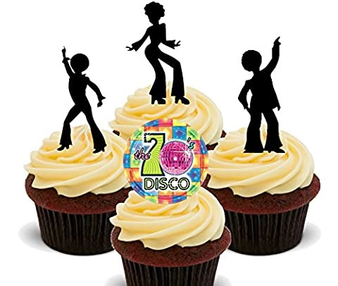 70s Disco Party Silhouettes, Edible Cupcake Toppers - Stand-up Wafer Cake Decorations (Pack of 12)