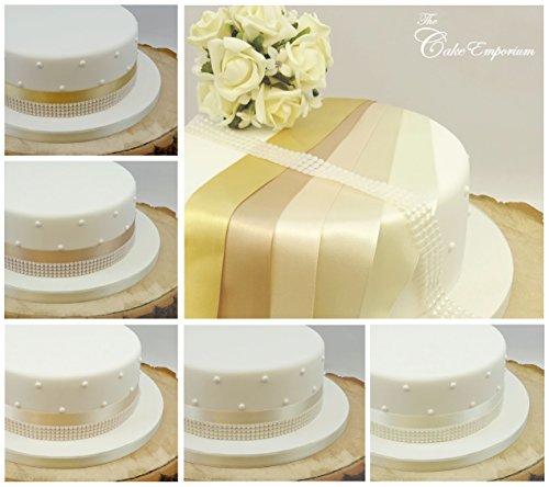 The Cake Emporium Ltd 1m Satinband 35mm & 4Zeile Pearl Trim Kuchen Dekoration Hochzeit Kuchen, Topper Trim Shades of Cream Gold Pearl Trim