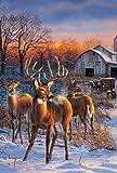 Toland Home Garden Deer Glory Flagge 119710, Textil, Blue/Brown/White, L