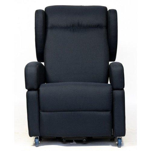 Sessel mit Aufstehhilfe und 2 Motoren Tirol. Abnehmbare Armlehnen und Seitenkopfstützen. Dunkelblauer Stoffbezug