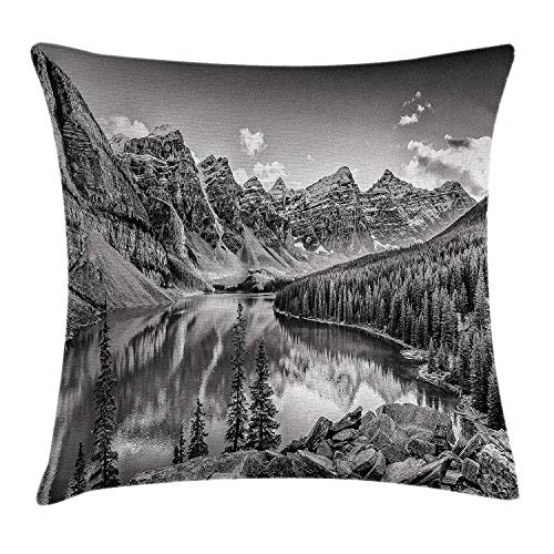 Yinorz Black and White Decor Throw Pillow Cushion Cover by, Mountain Creek Lake by The Hills Canadian Rocky Valley Peaceful Landscape, Decorative Square Accent Pillow Case, 18 X 18 Inches, Grey -