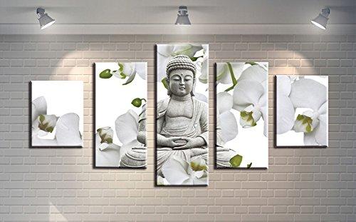�teilig Leinwand Prints mehrere Bilder-Buddha & Weiß Blumen Giclée-Bilder Gemälde auf Leinwand gedruckt, Poster Wand Decor Geschenk, ungerahmt, S ()