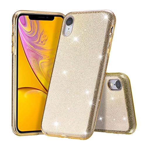 ProCase iPhone XR 6,1 Zoll Glitter Hülle, Luxus Glitzer Bling Schutzhülle Ultra Dünn Case [Liquid Crystal Glitzer] Glänzende Soft Flex Premium TPU Hülle Mädchen Frauen für Apple iPhone XR 2018 -Gold