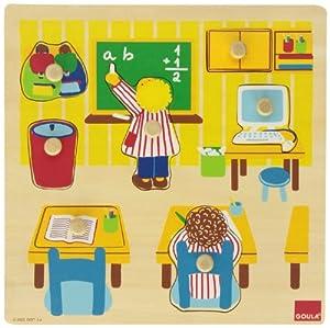 Goula - Puzzle Escuela, 7 Piezas de Madera (Diset 53035)