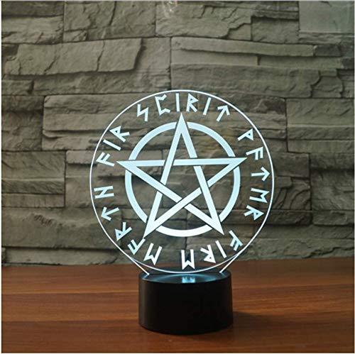 Farbe veränderbar nachtlicht davidstern schreibtischlampe led schlafzimmer dekor 3d symbole usb kreative lampen geschenke (Symbole Der Dämmerung)