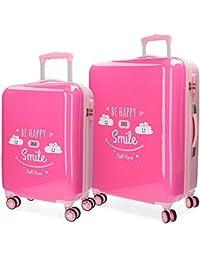 Roll Road Happy Juego de maletas, 69 cm, 108 litros, Rosa