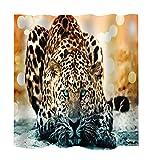 MagiDeal Stoff Schimmelresistenter Wasserabweisender Stoff-Duschvorhang 180 x 180cm - Tier Stil - Leopard, 180 x 180 cm