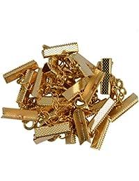 12pcs Conjuntos de Mosquetón Clip Engarzado Termina Cadena Suplemento 22x6mm - Oro