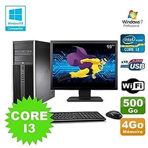 Pack PC Tower HP 8200 Core I3-2120 4GB 500GB Gravierer Wifi W7 + Bildschirm 19
