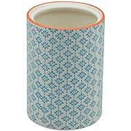 Nicola Spring Patterned Porcelain Kitchen Utensil Pot - Blue / Orange Print Design