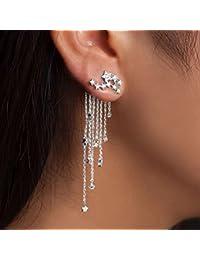 CanVivi Ohrhänger Damen Silber Lang Quaste Stern Form Ohrringe