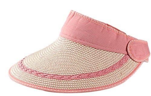 Leisial Mujeres Sombrero del Sol Grande Ala Playa Paja Anti-UV Plegable Sombrero de Visera para Viajar Casquillo al Aire Libre del Verano,Rosa
