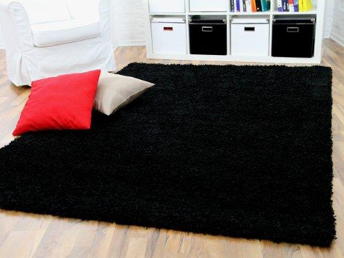Aloha - tappeto shaggy a pelo lungo - nero - 7 dimensioni