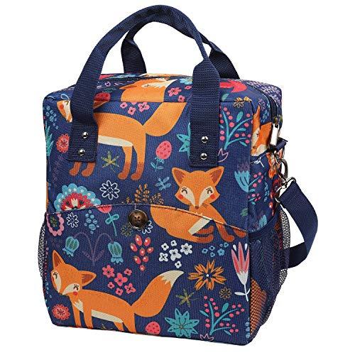 Lunch Bags Home Picknicktasche Lunch Bag 12L - Isolierte Kühltasche für Frauen Kinder Erwachsene, Fox-Muster Isolierte Kühltasche mit verstellbaren Schultergurten, Lunch Kit für Schule/Camping/ANG