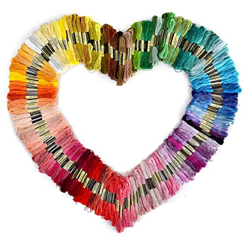 Foxnovo Farblich multicolor bunt Basteln 150 matassine di 8m multi-colore morbido cotone Cross Stitch ricamo (6 Ricamo)