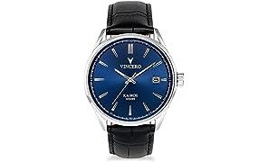 Montre bracelet de luxe Vincero Kairos pour homme — Cadran bleu avec bracelet en cuir noir- 42mm montre analogique - Mecanisme quartz japonais